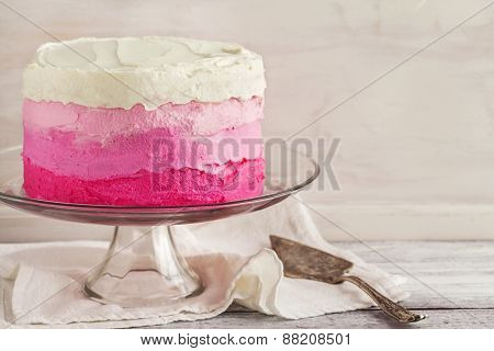Vanilla Cake In Pink Ombre