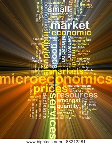 Background text pattern concept wordcloud illustration of microeconomics glowing light