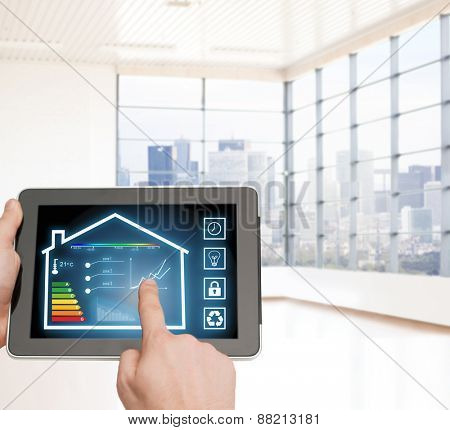 home, housing, people and technology concept - close up of man hands pointing finger to tablet pc computer and regulating room temperature over empty flat background poster