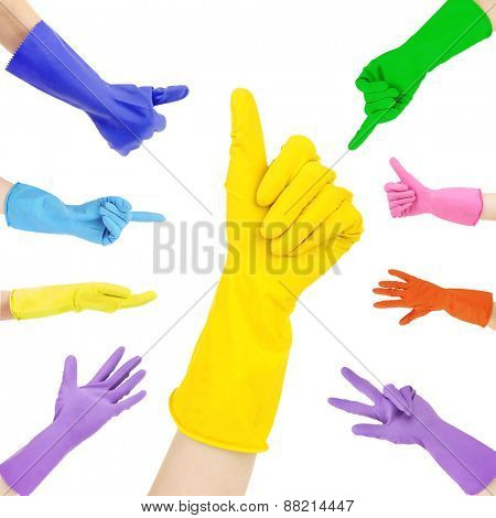Hands in colorful gloves gesturing numbers isolated on white