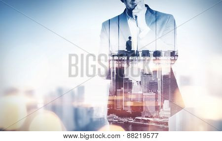 Double Exposure Concept With Thinking Businessman And City. With Special Lighting Effects