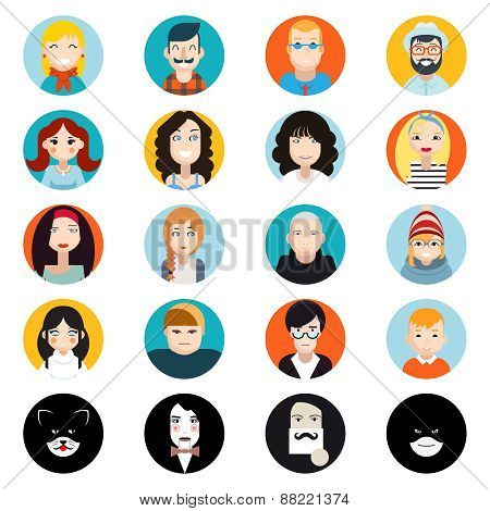 Stylish Handsome Male and Female Characters Avatar Collection of Faces Icons in Flat Design Vector I