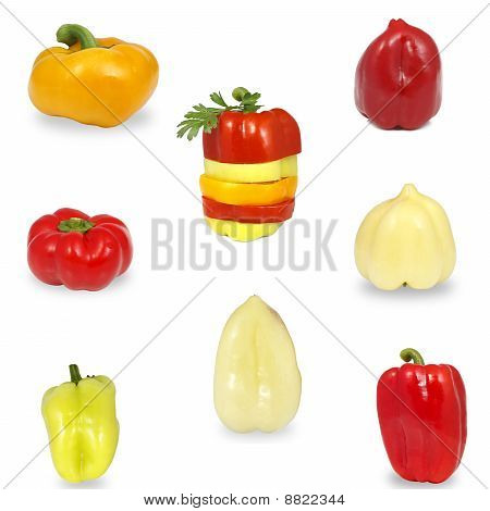 Sweet Peppers Of Different Colors And Shapes