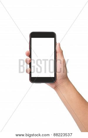 Hand Holding Smart Phone With Touchscreen Isolated On White