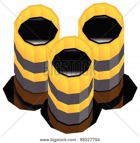 Oil Barrels With Oil Spill. Vector Render