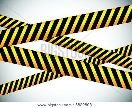 Repeatable yellow tapes bands strips. Vector editable. (Can be repeated horizontally) poster