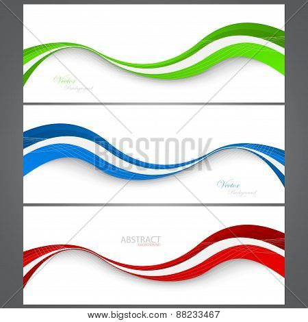 Collection Banners Modern Wave Design. ?olorful Background. Vector Illustration