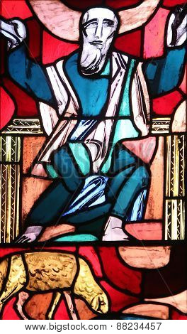 ELLWANGEN, GERMANY - MAY 07: Prophet Isaiah, stained glass window in Basilica of St. Vitus in Ellwangen, Germany on May 07, 2014.