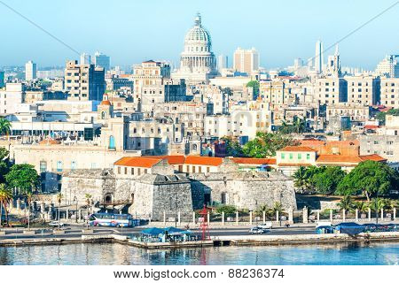 General view of Old Havana with several famous landmarks