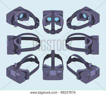 Set of the isometric virtual reality headsets. The objects are isolated against the light-blue background and shown from different sides poster