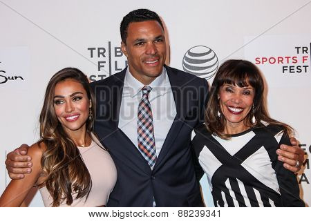 NEW YORK, NY - APRIL 16: (L-R) October Gonzalez, Tony Gonzalez, and Judy Gonzalez attend the premiere of 'Play It Forward' during the 2015 Tribeca Film Festival  on April 16, 2015 in New York City.