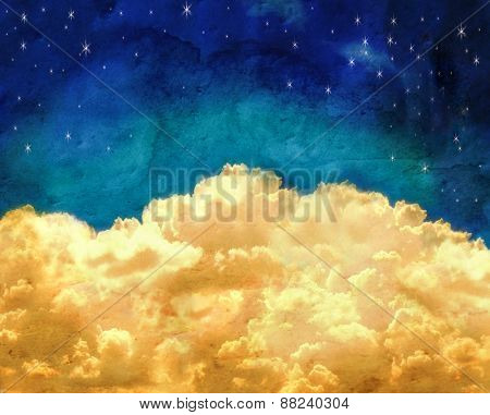puffy clouds and a blue sky with twinkling stars done with a texture overlay of grunge
