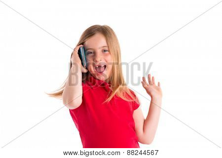 blond indented kid girl smiling talking smartphone phone on white background