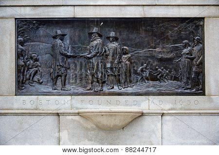 Boston 300th Anniversary Monument  AD 1630 Common Massachusetts USA