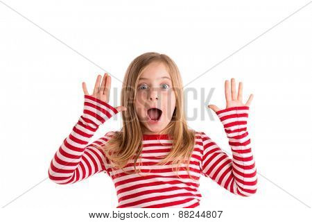 Blond indented kid girl open mouth and hands happy expression gesture on white