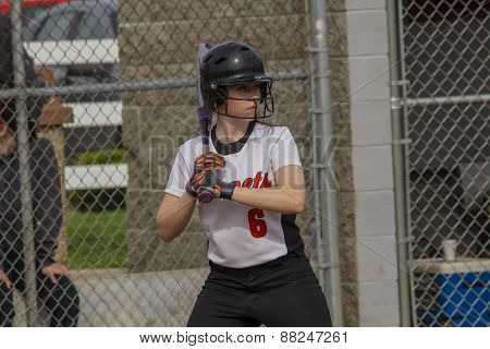 Female Fastpitch Softball Batter Sizing Up The Pitcher
