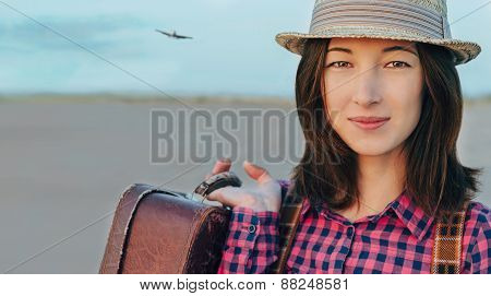 Smiling Tourist Young Woman With Suitcase