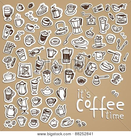 Vector Doodle Coffee Icons
