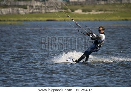 Kite Boarder On Baikal Lake In Siberia Russia
