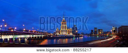 Ukraine Hotel (radisson Royal Hotel) In Night Illumination.