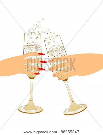 Male and female hand holding champagne glasses