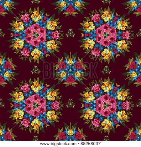 Floral abstract boho or hippie seamless pattern background. Mirr