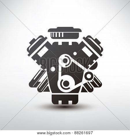 Car Engine Symbol, Stylized Vector Silhouette Of Automobile Motor