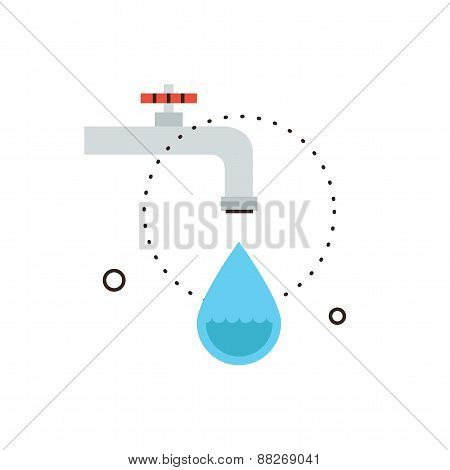 Dripping Tap Flat Line Icon Concept