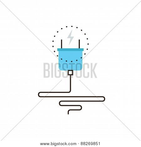 Thin line icon with flat design element of power cord plug effective electricity energy economy electric consumption wire cable connection. Modern style logo vector illustration concept. poster