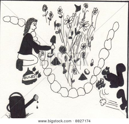 A 2D pen and ink black and white drawing of a woman planting bulbs in a garden while two squirrels are taking the freshly planted bulbs out and sneaking away with them. poster
