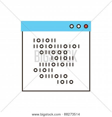 Programming Code Flat Line Icon Concept