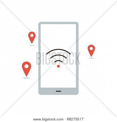 Wireless Hotspot Places Flat Line Icon Concept