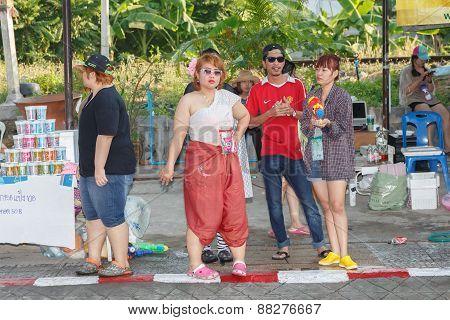 Nakhon Ratchasima, Thailand - April 14, 2015: Thai People Playing Water In Songkran Festival On Apri