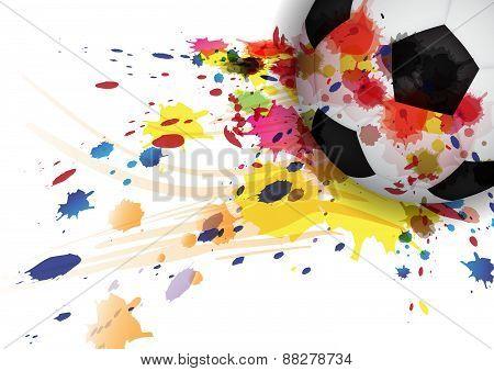 Soccer Ball Ink Splash Design Background