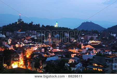 Night View Of Old Plovdiv Cityscape,bulgaria, Balkans