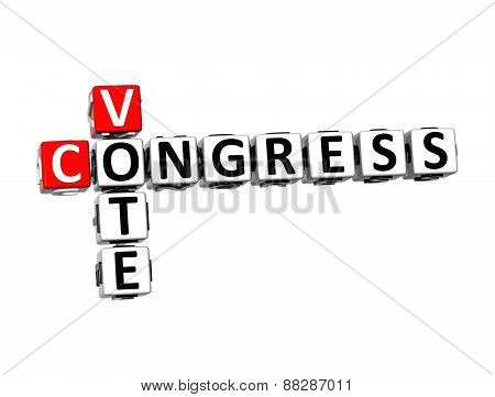 3D Crossword Vote Congress over white background. poster