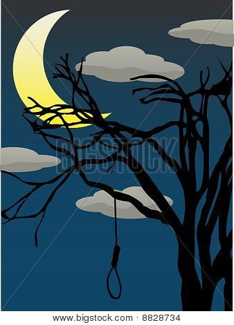 Spooky Quarter Moon Above Bare Tree With Hanging Noose