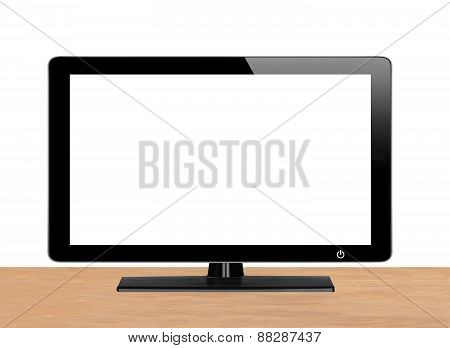 Modern Tv Screen On Wooden Table