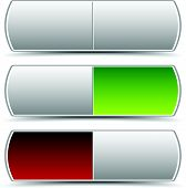 Power button switch vector elements. Turn on turn off. Power On-Off themes. Pressed green and red version and intact version. poster