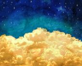 puffy clouds and a blue sky with twinkling stars done with a texture overlay of grunge  poster