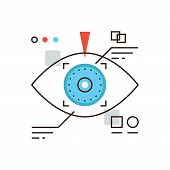 Thin line icon with flat design element of cyber eye vision eyetap future display virtual reality technology personal identification by eye retina. Modern style logo vector illustration concept. poster