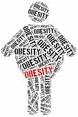 Word cloud illustration related to obesity. Health care concept. poster
