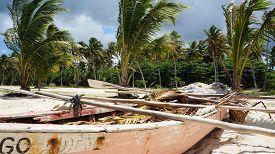 Rowing Boat At Playa Rincon At Samana In The Dominican Republic