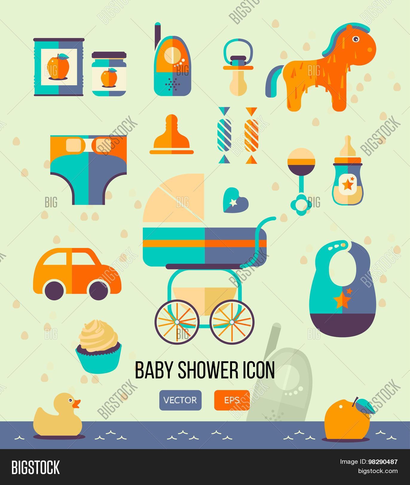 Vector illustration baby shower vector photo bigstock vector illustration baby shower icon for invitation template web design flat style stopboris Choice Image