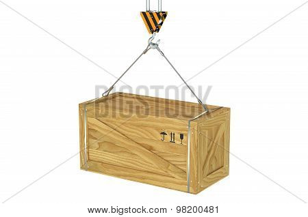 Crane Hook With Hanging Wooden Box
