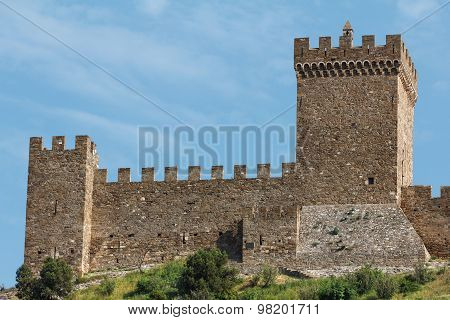 Ancient Fortress Wall And Blue Sky
