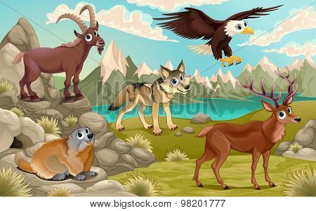 Funny animals in a mountain landscape. Vector cartoon illustration