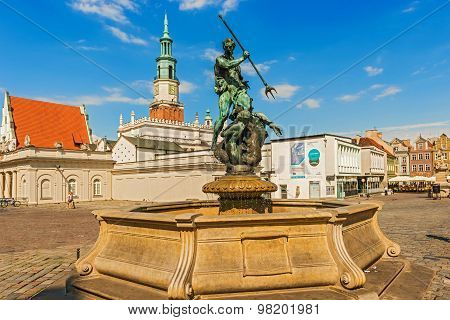 Poznan, Poland - July 8, 2015: Neptun fountain on the main Old Town Square in Poznan Poland.