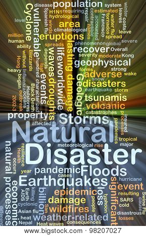 Background concept wordcloud illustration of natural disaster glowing light poster