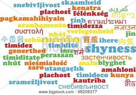 Background concept wordcloud multilanguage international many language illustration of shyness